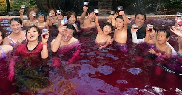 You Won't Actually Believe What These People Are Swimming In At This Japanese Spa